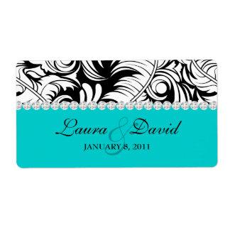 Wedding Label Leaf Swirls 'n Jewelry Blue