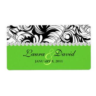 Wedding Label Leaf Swirls 'n Jewelry Lime Green