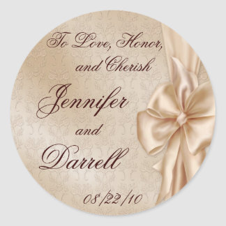 Wedding Lace and Bow Classic Round Sticker