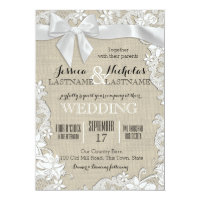 Wedding Lace and Bow Country Rustic Card