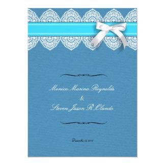 "Wedding lace & ribbon invitation cards 5.5"" x 7.5"" invitation card"
