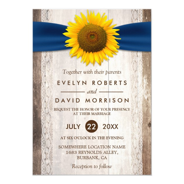 Wedding Lace Rustic Barn Wood Sunflower Ribbon 5x7 Paper Invitation Card