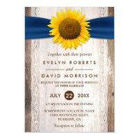 Wedding Lace Rustic Barn Wood Sunflower Ribbon Card (<em>$1.90</em>)