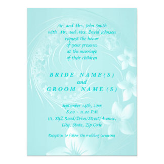 Wedding - Light Blue Abstract Flowers Card