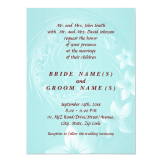 Wedding - Light Blue Abstract Flowers 6.5x8.75 Paper Invitation Card