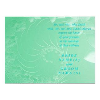Wedding - Light Green Abstract Flowers Card