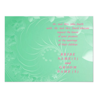 Wedding - Light Green Abstract Flowers 6.5x8.75 Paper Invitation Card
