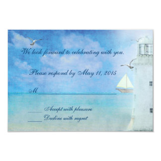 Wedding Lighthouse RSVP 3.5x5 Paper Invitation Card