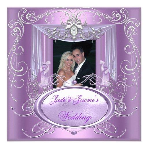 Wedding Lilac Purple Pink Silver Ornate Elegant 525x525 Square Paper Invitation Card
