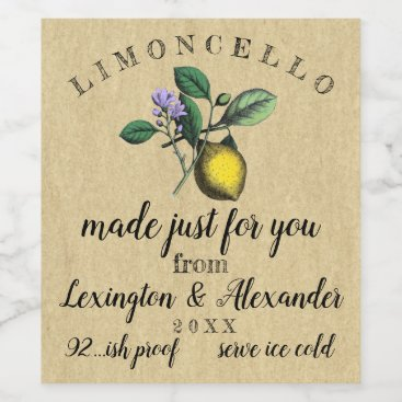 Bride Themed Wedding Limoncello Vintage Lemon Illustration  | Wine Label