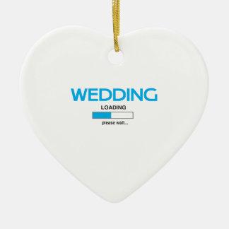 Wedding Loading Double-Sided Heart Ceramic Christmas Ornament