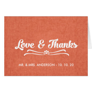 Wedding Love and Thanks Folded Card | Coral Linen Cards