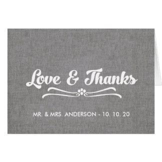 Wedding Love and Thanks Folded Card | Gray Linen