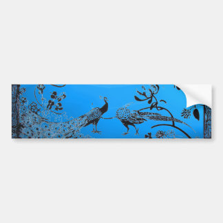 WEDDING LOVE BIRDS  black and blue Bumper Stickers