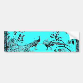 WEDDING LOVE BIRDS  black and blue Bumper Sticker