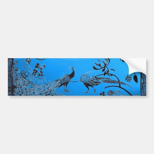 WEDDING LOVE BIRDS  black and blue Bumper Stickers