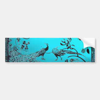 WEDDING LOVE BIRDS  black and blue Car Bumper Sticker