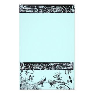 WEDDING LOVE BIRDS  black and blue Stationery