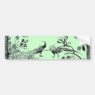 WEDDING LOVE BIRDS  black and green Bumper Stickers