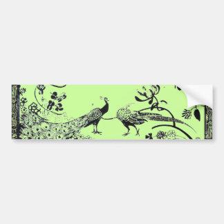 WEDDING LOVE BIRDS  black and green Car Bumper Sticker