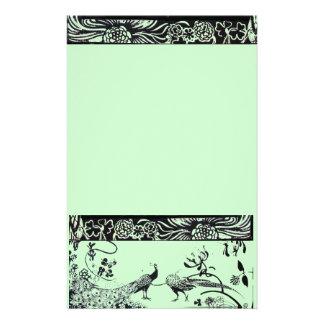 WEDDING LOVE BIRDS  black and green Stationery
