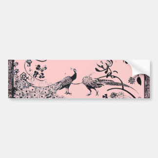WEDDING LOVE BIRDS  black and pink Car Bumper Sticker