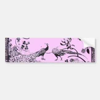 WEDDING LOVE BIRDS  black and pink Bumper Sticker