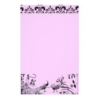 WEDDING LOVE BIRDS  black and pink damask Stationery