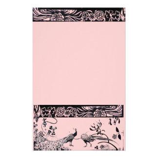 WEDDING LOVE BIRDS  black and pink Stationery