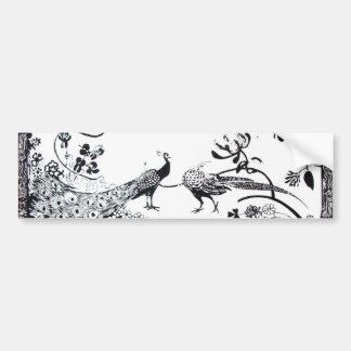 WEDDING LOVE BIRDS  black and white Car Bumper Sticker