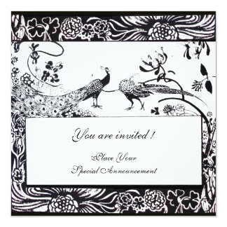 WEDDING LOVE BIRDS ,black and white Card