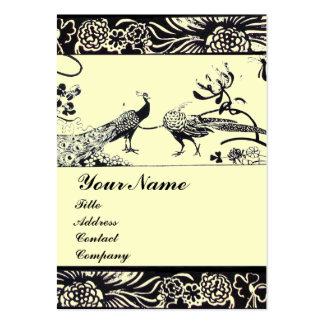 WEDDING LOVE BIRDS ,black and white ,cream Large Business Card
