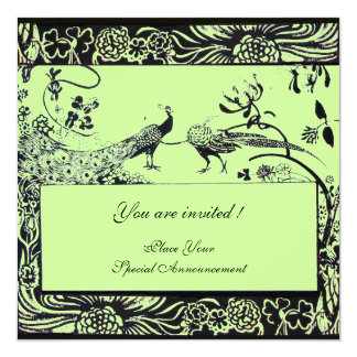 WEDDING LOVE BIRDS ,black and white ,green Card