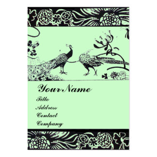WEDDING LOVE BIRDS ,black and white ,green Large Business Card