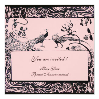 WEDDING LOVE BIRDS ,black and white ,pink Card