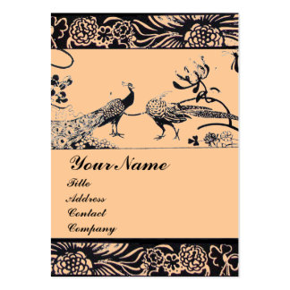 WEDDING LOVE BIRDS ,black and white ,pink Large Business Card