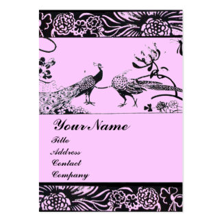 WEDDING LOVE BIRDS ,black and white pink Large Business Card