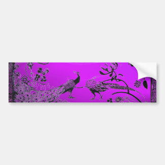 WEDDING LOVE BIRDS  black and white purple Bumper Sticker