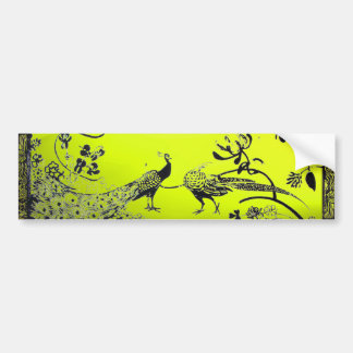 WEDDING LOVE BIRDS  black and white yellow Bumper Stickers
