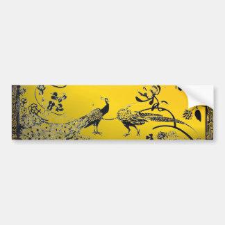 WEDDING LOVE BIRDS  black and white yellow Car Bumper Sticker
