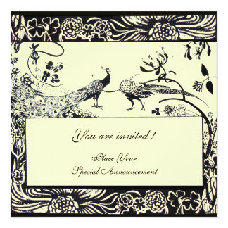 WEDDING LOVE BIRDS ,black and white ,yellow Card