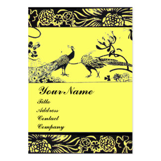 WEDDING LOVE BIRDS ,black and white ,yellow Large Business Card