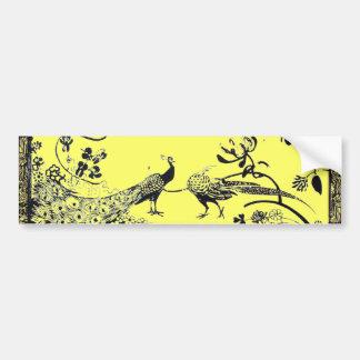 WEDDING LOVE BIRDS  black and yellow Car Bumper Sticker