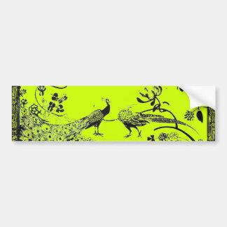 WEDDING LOVE BIRDS  black and yellow green Car Bumper Sticker