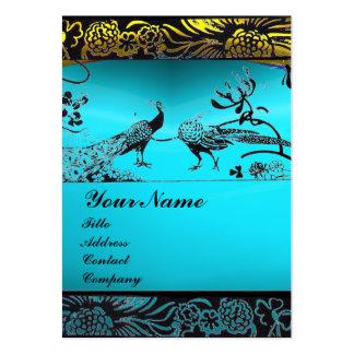 WEDDING LOVE BIRDS ,black white,blue aquamarine Large Business Card