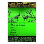 WEDDING LOVE BIRDS ,black white,green emerald Business Card Template