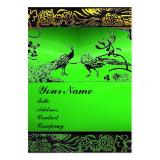WEDDING LOVE BIRDS ,black white,green emerald Large Business Card