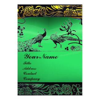 WEDDING LOVE BIRDS ,black white,green jade Large Business Card