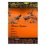 WEDDING LOVE BIRDS black white,orange yellow agate Business Card