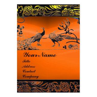 WEDDING LOVE BIRDS black white,orange yellow agate Large Business Card